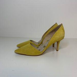 Biden Henrietta heels in yellow suede